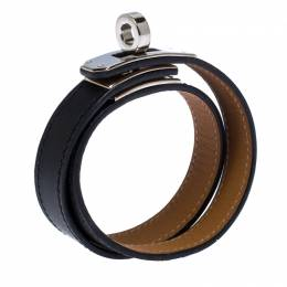 Hermes Kelly Double Tour Black Leather Palladium Plated Wrap Bracelet M 264512
