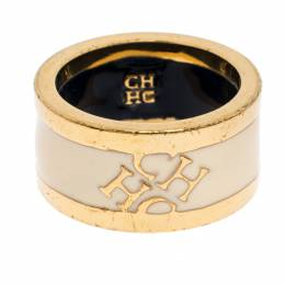 Ch Carolina Herrera Cream Enamel Gold Tone Band Ring Size 52 264477
