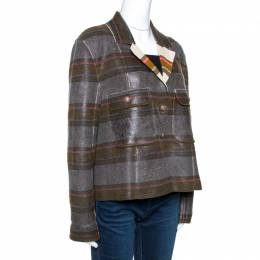 Chanel Multicolor Coated Cashmere Button Front Jacket XL 264384