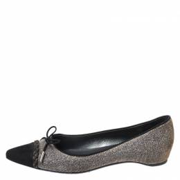 Stuart Weitzman Glitter Fabric And Black Suede Bow Pointed Cap Toe Ballet Flats Size 38.5 265383