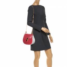 Chloe Amaranth Red/Grey Leather Medium Drew Shoulder Bag