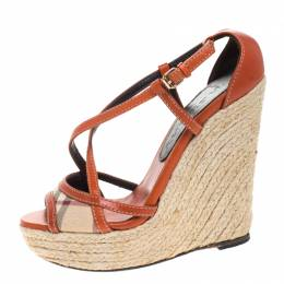 Burberry Orange Leather And Novacheck Canvas Espadrille Peep Toe Wedge Sandals Size 36 264035