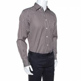Ermenegildo Zegna Brown Striped Cotton Button Front Shirt M 264521