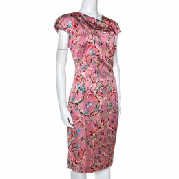 Just Cavalli Pink Baroque Print Satin Sheath Dress M 266080