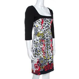 Versace Collection Black Printed Crepe Sheath Dress M 266066