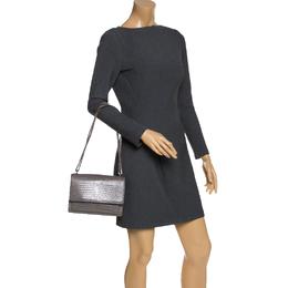 Saint Laurent Grey Croc Embossed Leather Medium Sunset Shoulder Bag