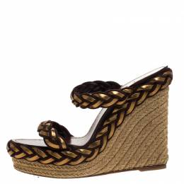 Christian Louboutin Gold/Brown Leather and Suede Braided Espadrille Wedge Sandals Size 40 265809
