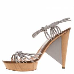 Sergio Rossi Grey Strappy Leather Wooden Platform Ankle Strap Sandals Size 39.5 265808
