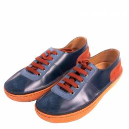 Prada Blue Leather And Suede Low-Top Sneakers Size 42 264620