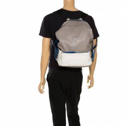 Furla Grey/Blue Leather Icaro Backpack 265480