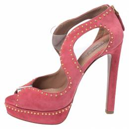 Alaia Pink Suede And PVC Studded Peep Toe Platform Sandals Size 38 265482