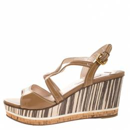 Prada Brown Patent Leather Strappy Open Toe Animal Print Wooden Wedge Sandals Size 40.5 264383