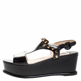 Prada Black Leather T-Strap Wedge Platform Studded Slingback Sandals Size 40 264386