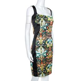Just Cavalli Black Printed Stretch Satin Sheath Dress M 265126
