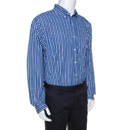 Ralph Lauren Blue Striped Cotton Custom Fit Shirt XL 264524