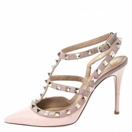 Valentino Pink Patent Leather Rockstud Ankle Strap Sandals Size 36.5