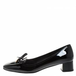 Prada Black Patent Leather Bow Ballet Pumps Size 39 262108
