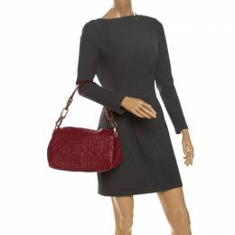 Dior Red Cannage Leather Delidior Flap Shoulder Bag 262107