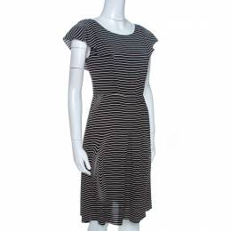 Prada Black and White Crepe Illusion Stripe Butterfly Sleeve Dress M 262585