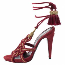 Roberto Cavalli Red Woven Fabric Gladiator Ankle Wrap Sandals Size 40 261458