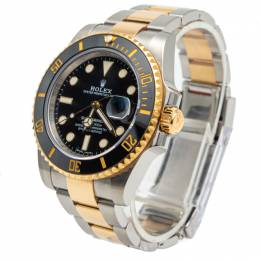 Rolex Black Dial Submariner Stainless Steel & Yellow Gold Watch 40MM