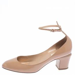 Valentino Beige Patent Leather Tango Block Heel Ankle Strap Pumps Size 40.5 262643