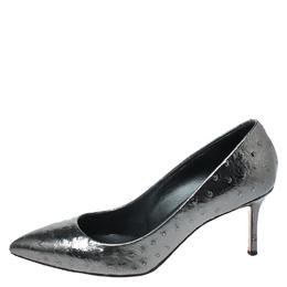 Giuseppe Zanotti Design Metallic Grey Ostrich Embossed Leather Lucrezia Pointed Toe Pumps Size 40 262909