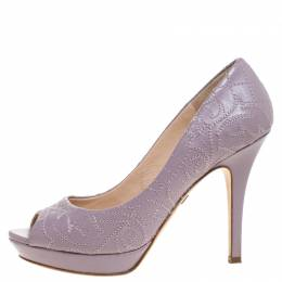 Versace Lilac Embroidered Leather Peep Toe Platform Pumps Size 38.5 261695