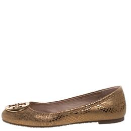 Tory Burch Metallic Gold Foil Textured Suede Reva Ballet Flats Size 37