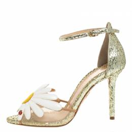 Charlotte Olympia Gold/White Glitter and Leather Margherita Ankle Strap Sandals Size 36 262017