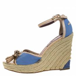 Celine Blue Canvas And Beige Leather Tassel Espadrille Wedge Platform Ankle Strap Sandals Size 38 263830