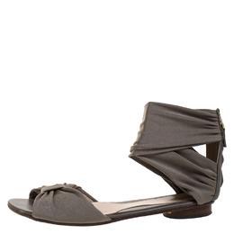 Fendi Grey Stretch Fabric Ankle Wrap Flat Sandals Size 36.5 263839