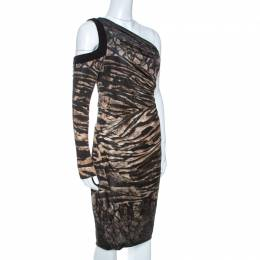 Roberto Cavalli Black Printed Knit Draped One Shoulder Dress M 261476
