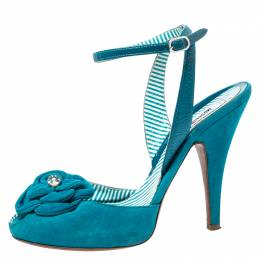 Boutique Moschino Blue Suede Flower Detail Ankle Strap Sandals Size 38.5
