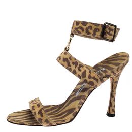 Manolo Blahnik Muticolor Leopard Print Suede Ankle Strap Sandals Size 35 261306