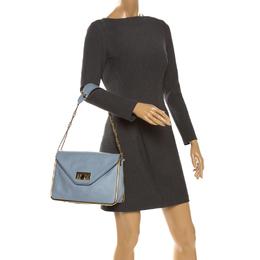 Chloe Sky Blue Leather Medium Sally Shoulder Bag