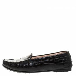 Tod's Black Croc Embossed Leather Penny Loafers Size 37 Tod's 262938