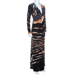 Roberto Cavalli Multicolor Stretch Jersey Draped V Neck Maxi Dress S 262486