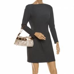 Aigner Metallic Beige/Bronze Fabric Small Pleated Shoulder Bag 262661