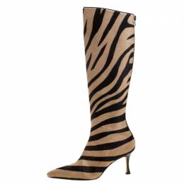 Manolo Blahnik Brown/Beige Calf Hair Leopard Print Knee Length Pointed Toe Boots Size 36 261465