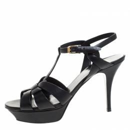 Saint Laurent Black Leather Tribute Platform Ankle Strap Sandals Size 41.5 262668
