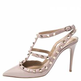 Valentino Beige Patent Leather And Leather Rockstud Ankle Strap Sandals Size 40