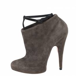 Givenchy Grey Suede T Bar Strap Platform Ankle Boots Size 38 261261