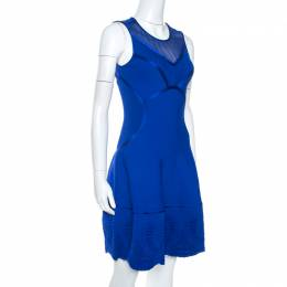 Roberto Cavalli Blue Embossed Jacquard Knit Fitted Dress S 263039