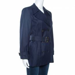 Gucci Navy Blue Cotton Belted Double Breasted Coat M 263035