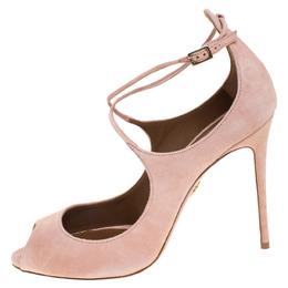 Aquazzura Pink Suede Zani Ankle Strap Pumps Size 40.5 262496