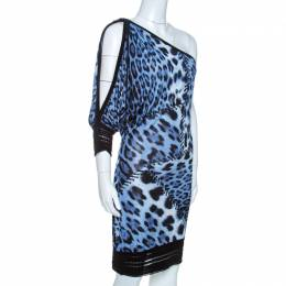 Roberto Cavalli Bicolor Animal Print Knit One Shoulder Dress M 261678