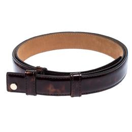 Jimmy Choo Dark Brown Tortoise Patent Leather Slides Belt 103CM