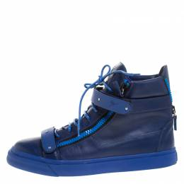 Giuseppe Zanotti Design Blue Leather Coby High Top Sneakers Size 44.5
