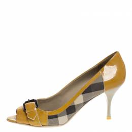 Burberry Mustard/Beige House Check PVC and Patent Leather Buckle Peep Toe Pumps Size 40 261529